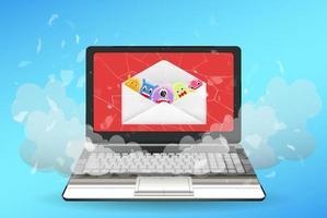 computer portatile rotto da virus dalla posta elettronica vettore