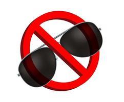no occhiali da sole neri, vettore di segno di divieto