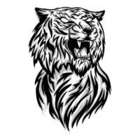 illustrazione vettoriale focoso testa di tigre