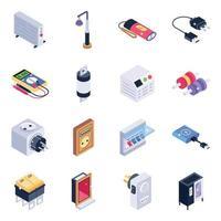 set di icone isometriche di strumenti tecnologici vettore