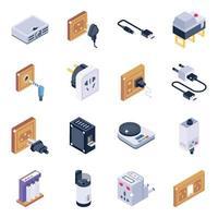 set di icone isometriche di elettronica ed energia vettore