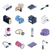set di icone isometriche di dispositivi ed elementi tecnologici vettore