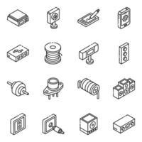 set di icone isometriche del sistema audio e dei diodi della batteria vettore