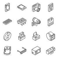 set di icone isometriche di elementi di apparecchi elettronici vettore