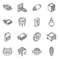set di icone isometriche di componenti elettronici e condensatori vettore