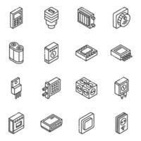 set di icone isometriche di componenti hardware e feedback vettore