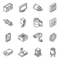 connessione wifi e set di icone isometriche del database vettore