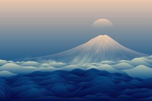 sfondo blu paesaggio di montagna vettore