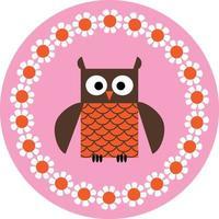 grafica vettoriale simpatico gufo sul cerchio rosa con bordo fiore