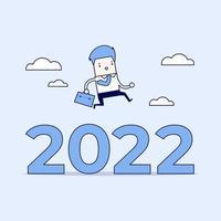 uomo d'affari saltare oltre il numero 2022. vettore di stile di linea sottile personaggio dei cartoni animati.