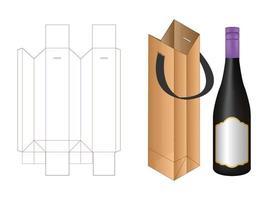 linea di fustellatura per scatole di cartone per mockup di pacchetti di bottiglie vettore