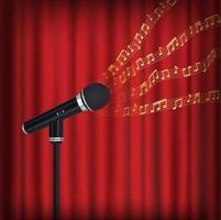 microfono con una nota musicale casuale di esempio fluttuante che non corrisponde a nessuna canzone sul palco vettore