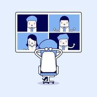 uomo d'affari con riunione di lavoro in videoconferenza. riunioni virtuali online, lavoro da casa. vettore di stile di linea sottile personaggio dei cartoni animati.