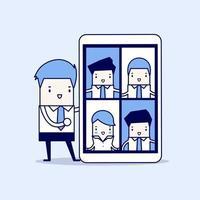 uomo d'affari con videoconferenza su tablet. riunioni virtuali online. vettore di stile di linea sottile personaggio dei cartoni animati.