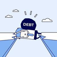 uomo d'affari intrappolato in una scogliera con un debito sulle spalle. uomo d'affari e crisi fisica del debito. vettore di stile di linea sottile personaggio dei cartoni animati.
