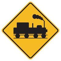 cartelli di avvertimento passaggio a livello senza cancelli su sfondo bianco vettore