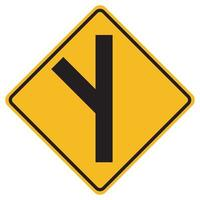 segnali di avvertimento svincolato incrocio stradale laterale a sinistra su sfondo bianco vettore
