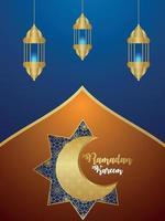 biglietto di auguri per la celebrazione del festival islamico di ramadan kareem o eid mubarak vettore