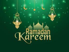 festival islamico di ramadan kareem con lanterne dorate e luna su sfondo creativo vettore