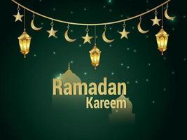 festival islamico della cartolina d'auguri di celebrazione del ramadan kareem con la lanterna araba di vettore su fondo verde