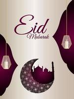 eid mubarak celebrazione volantino festa con luna e lanterna a motivo arabo vettore