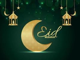 sfondo realistico eid mubarak con luna e lanterna dorate vettore