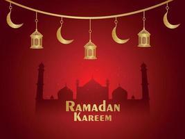 festival islamico di celebrazione di ramadan kareem con sfondo di lanterne creative vettore