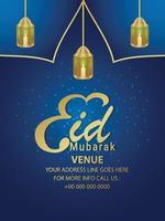 volantino festa di invito festival islamico eid mubarak con lanterna vettoriale su sfondo blu