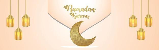 modello arabo luna e lanterna del banner festival islamico ramadan kareem vettore