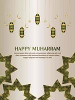 biglietto di auguri di invito felice muharram con sfondo modello creativo vettore