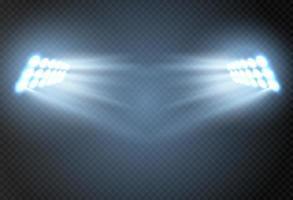 effetto riflettore per palcoscenico di concerti teatrali. luce incandescente astratta di riflettori illuminati su sfondo trasparente. vettore