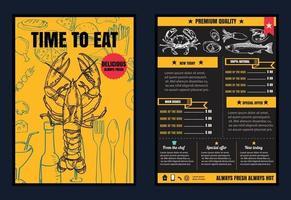 brochure o poster menu del ristorante con sfondo lavagna formato vettoriale eps10