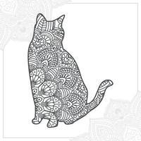 mandala di gatto. elementi decorativi vintage. modello orientale, illustrazione vettoriale. vettore