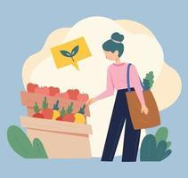 una donna indossa un sacchetto riutilizzabile invece di un sacchetto di plastica e fa la spesa in un mercato alimentare locale che è fresco anziché confezionato. illustrazione di vettore minimo di stile di design piatto.
