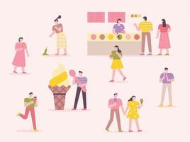 molte persone mangiano il gelato. gelateria con sfondo rosa. illustrazione di vettore minimo di stile di design piatto.