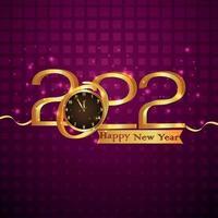 carta di celebrazione di felice anno nuovo 2022 con orologio da parete su sfondo viola vettore