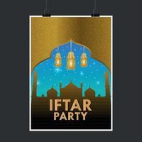 volantino o poster del partito iftar vettore