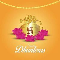 shubh dhanteras celebrazione illustrazione vettoriale con pentola moneta d'oro e fiore di loto