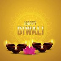 cartolina d'auguri felice di celebrazione di diwali con l'illustrazione creativa di vettore della lampada a olio