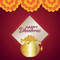 festival indiano del biglietto di auguri di invito felice dhanteras con ghirlanda di fiori vettore