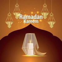 festival islamico del biglietto di auguri di celebrazione del ramadan kareem con lanterne creative vettore