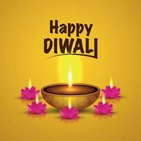 festival indiano del biglietto di auguri di celebrazione felice di diwali con diwali diya in fiamme vettore