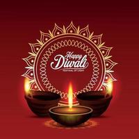 il festival della luce felice diwali, biglietto di auguri di invito vettore