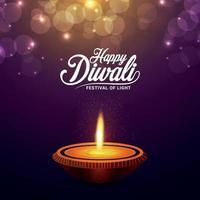 felice festival indiano di diwali con illustrazione vettoriale creativa di diwali diya su sfondo viola