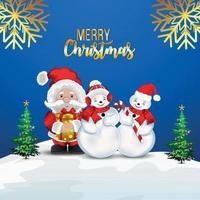 illustrazione realistica creativa con pupazzi di neve e Babbo Natale vettore