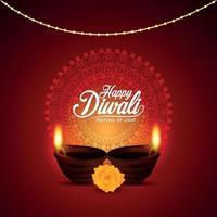 felice diwali, il festival della luce con illustrazione vettoriale creativa di diwali diya