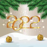 2022 effetto testo dorato, cartolina d'auguri di felice anno nuovo celebrazione vettore