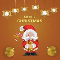 biglietto di auguri di celebrazione di Natale con illustrazione vettoriale creativo e palline d'oro