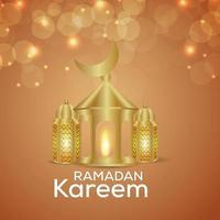 biglietto di auguri invito ramadan kareem con luna dorata e lanterne vettore