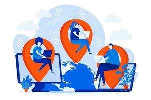 concetto di web design di società di outsourcing con personaggi di persone vettore